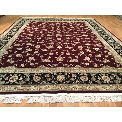 Drummaul Hand-Knotted Burgundy/Beige Area Rug