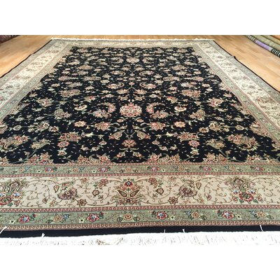 Tabriz Hand-Knotted Black/Green Area Rug