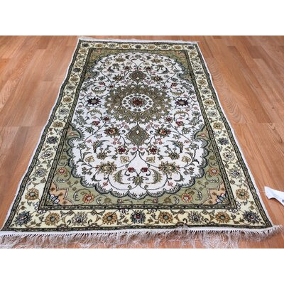 Qum Silk Hand-Knotted White/Green Area Rug