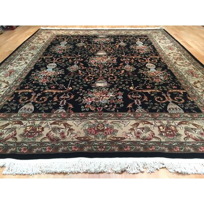 Tabriz Hand-Knotted Black Green Area Rug