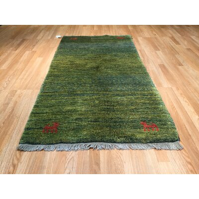 Falke Hand-Knotted Green Area Rug