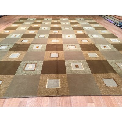 Gabbeh Hand-Knotted Green/Brown Area Rug