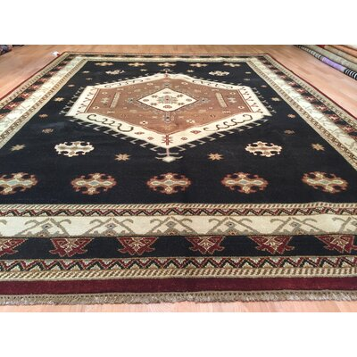 Eramana Hand-Knotted Black Area Rug