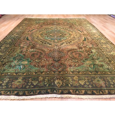 Tabriz Hand-Knotted Brown/Green Area Rug