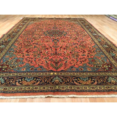 Tabriz Hand-Knotted Salmon Area Rug
