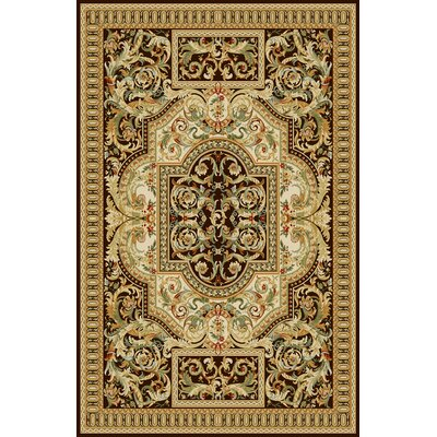 Allgood Dark Brown/Beige Area Rug Rug Size: 53 x 72