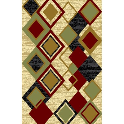Dianah Ivory/Green Area Rug Rug Size: 711 x 910