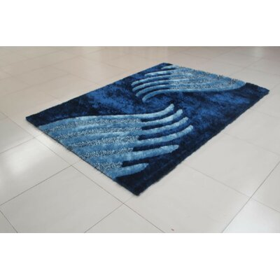 Shelie Blue Area Rug Rug Size: 53 x 72