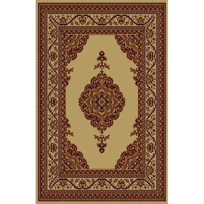 Allegro Ivory/Brown Area Rug Rug Size: 711 x 910