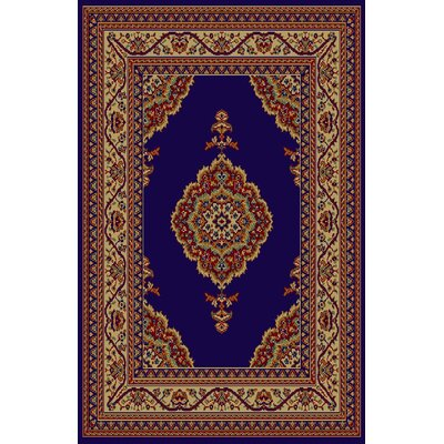 Charlene Navy Blue/Brown Area Rug Rug Size: 711 x 910