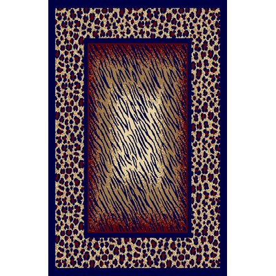 Dina Red/Navy Blue Area Rug Rug Size: 53 x 72