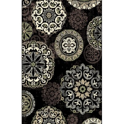 Shaffer Black Area Rug Rug Size: 53 x 72