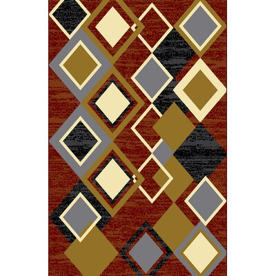 Aarron Red/Blue Area Rug Rug Size: 711 x 910