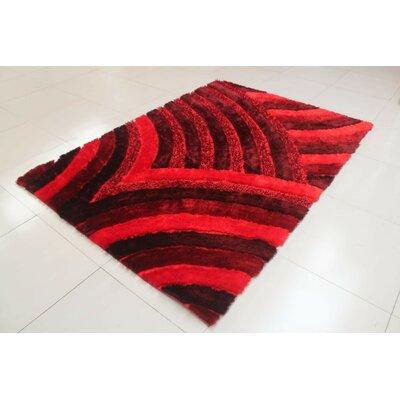 Reshmi Wave Pattern Burgundy Area Rug Rug Size: 711 x 910