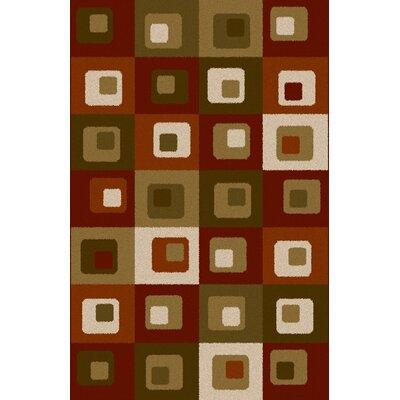 Dirk Burgundy/Green Area Rug Rug Size: 711 x 910