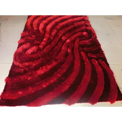Ateao Rectangle Burgundy Area Rug Rug Size: 53 x 72