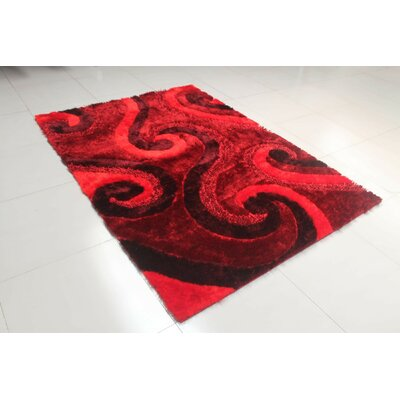 Reshmi Stain Resistant Rectangle Burgundy Area Rug Rug Size: 53 x 72