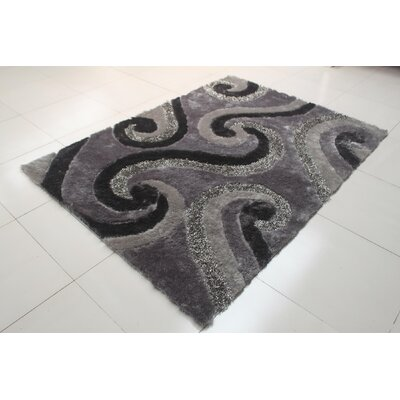 Joshawn Curve Pattern Gray Area Rug Rug Size: 711 x 910
