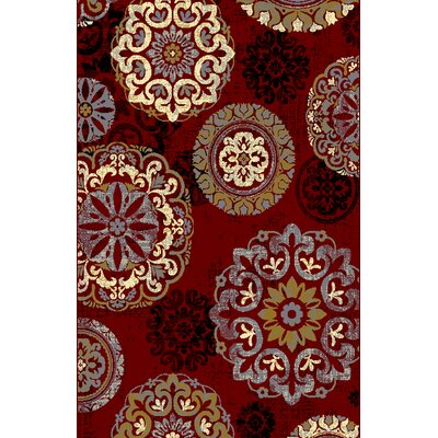 Adkins Red/Brown Area Rug Rug Size: 53 x 72