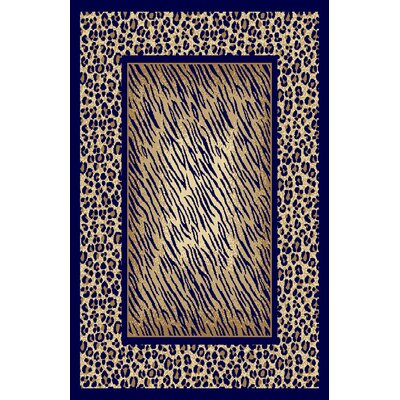 Dianna Navy Blue/Beige Area Rug Rug Size: 53 x 72