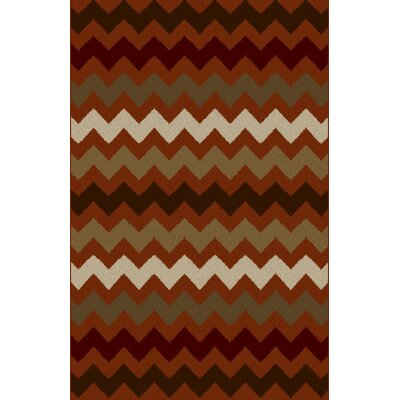Kemo Taupe/Red Area Rug Rug Size: 711 x 910