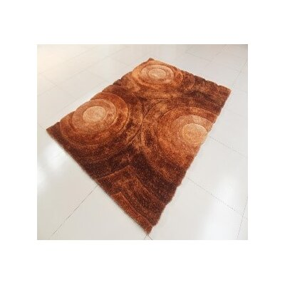 Arron Circle Gold Area Rug Rug Size: 53 x 72