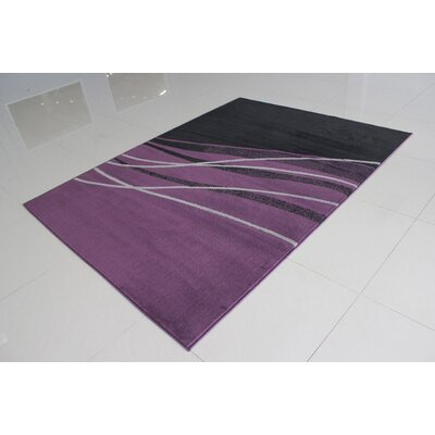 Wali Rectangle Black/Purple Area Rug Rug Size: 53 x 72