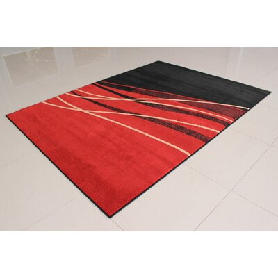 Olatayo Rectangle Black/Orange Area Rug Rug Size: 53 x 72
