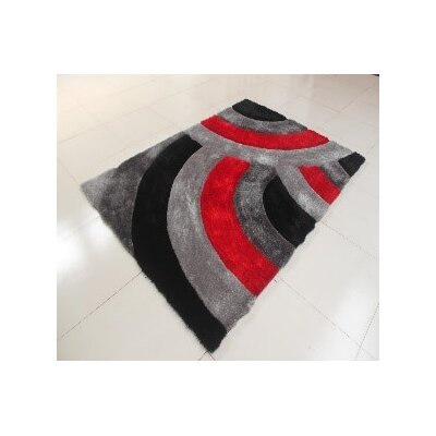 Kishor Stain Resistant Black/Gray Area Rug Rug Size: 711 x 910