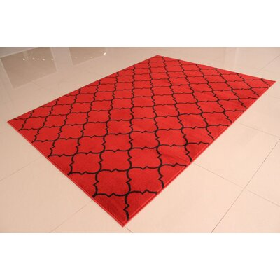 Carolan Quatrefoil Orange/Black Area Rug Rug Size: 53 x 72