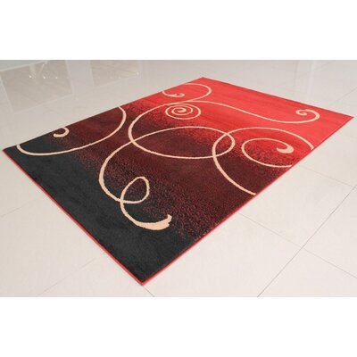 Olatayo Black/Orange Area Rug Rug Size: 53 x 72