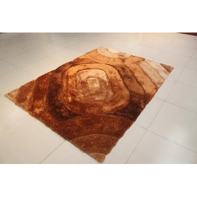 Arron Geometric Gold Area Rug Rug Size: 53 x 72