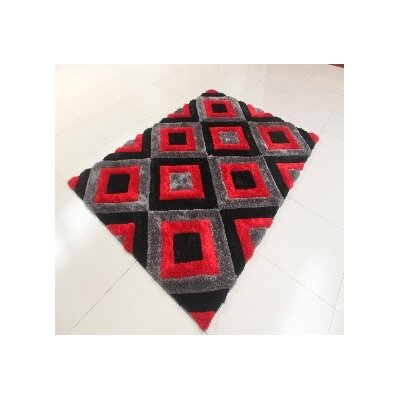 Kishor Black/Gray/Red Area Rug Rug Size: 53 x 72