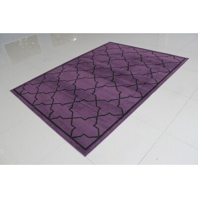 Rattew Purple/Black Area Rug Rug Size: 711 x 910