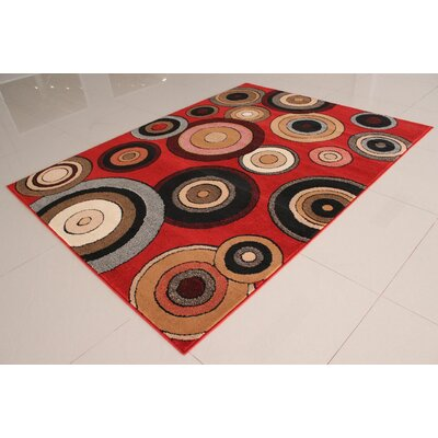 Brieanna Orange Area Rug Rug Size: 53 x 72