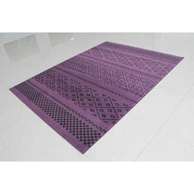 Pontus Purple/Black Area Rug Rug Size: 53 x 72