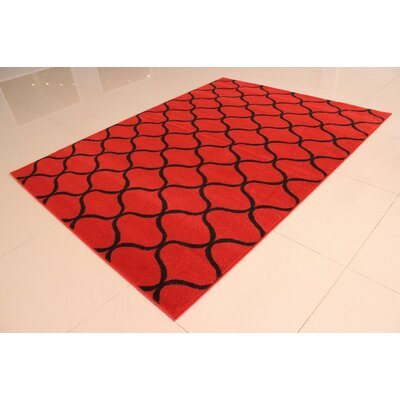 Carolan Wavy Pattern Orange/Black Area Rug Rug Size: 53 x 72