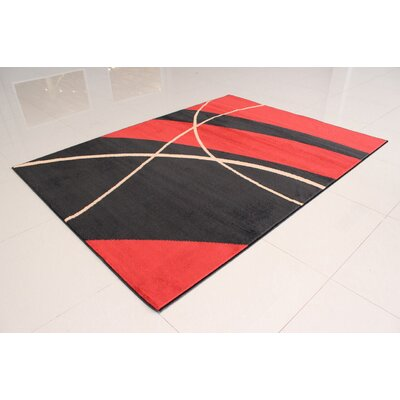 Olatayo Stain Resistant Black/Orange Area Rug Rug Size: Runner 2 x 72