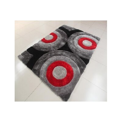 Kishor Circle Black/Gray Area Rug Rug Size: 53 x 72
