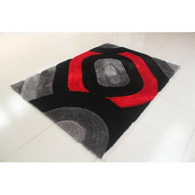Kishor Black/Gray Area Rug Rug Size: 711 x 910