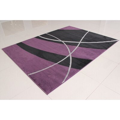 Wali Black/Purple Area Rug Rug Size: 711 x 910