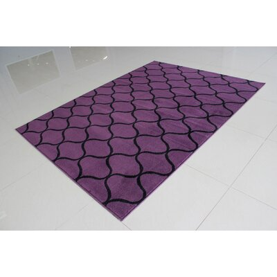 Rattew Wavy Pattern Purple/Black Area Rug Rug Size: 53 x 72