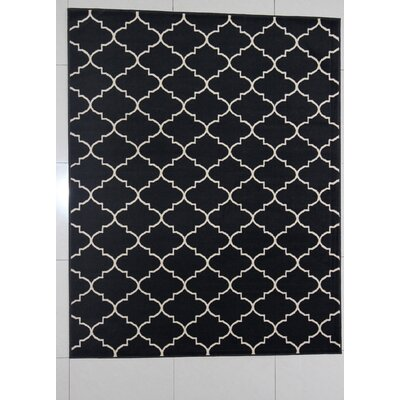 Hartley Black Area Rug Rug Size: 53 x 72
