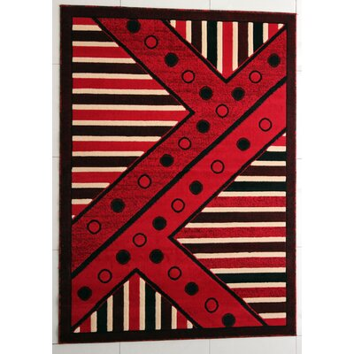 Sider Red Area Rug Rug Size: 53 x 72