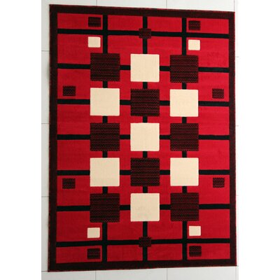 Hatchett Red Area Rug Rug Size: 53 x 72