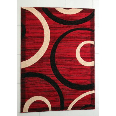MariJo Red Area Rug Rug Size: 53 x 72