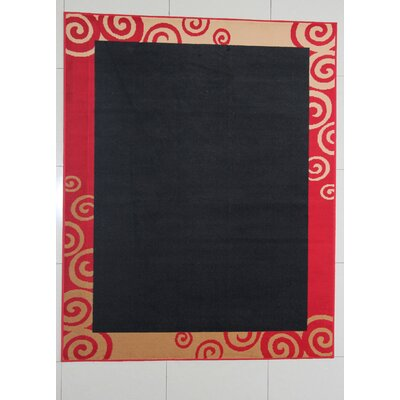 Germanos Black Area Rug Rug Size: 53 x 72