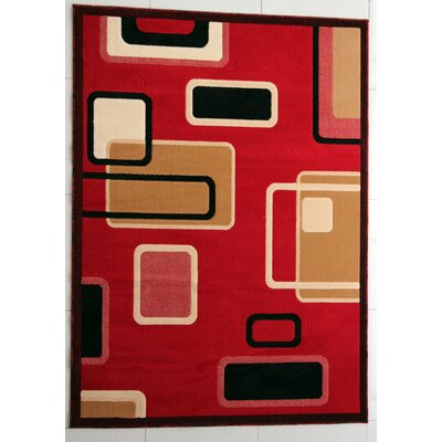 Galina Red Area Rug Rug Size: 53 x 72