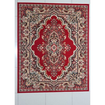 Perry Red Area Rug Rug Size: 53 x 72