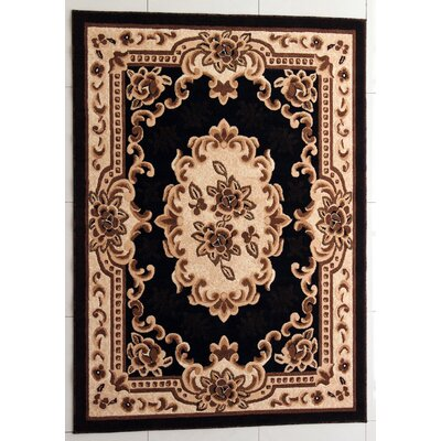 Acker Black Area Rug Rug Size: Rectangle 53 x 72